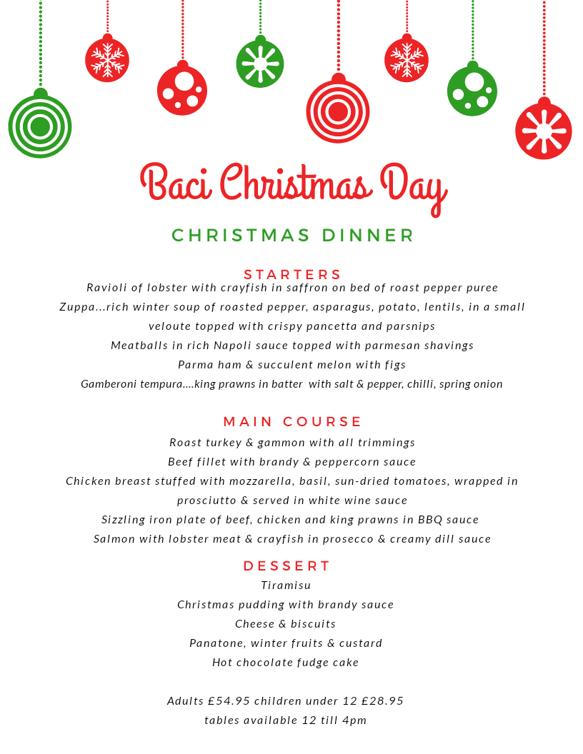 Christmas Menu.Christmas Day Menu Baci Restaurant